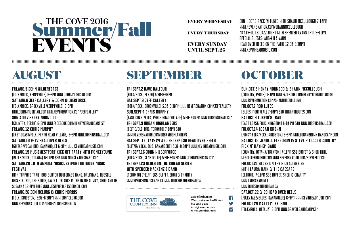 Summer Fall Events Calendar 2016 11x17